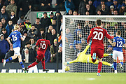 Liverpool forward Sadio Mane (10) scores a goal 4-1  during the Premier League match between Liverpool and Everton at Anfield, Liverpool, England on 4 December 2019.