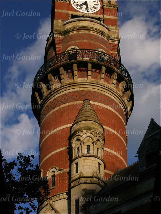 Victorian Gothic architectural style of the Jefferson Market Library in Greenwich Village, which is a New York City Landmark. Photo taken before sunset in June.