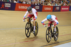 Russia's Daria Shmeleva (left) beats fellow Russian Anastasiia Voinova to win the Gold Medal in the Womens Sprint Final during day four of the 2018 European Championships at the Sir Chris Hoy Velodrome, Glasgow. PRESS ASSOCIATION Photo. Picture date: Sunday August 5, 2018. See PA story CYCLING European. Photo credit should read: Jane Barlow/PA Wire. RESTRICTIONS: Editorial use only, no commercial use without prior permission