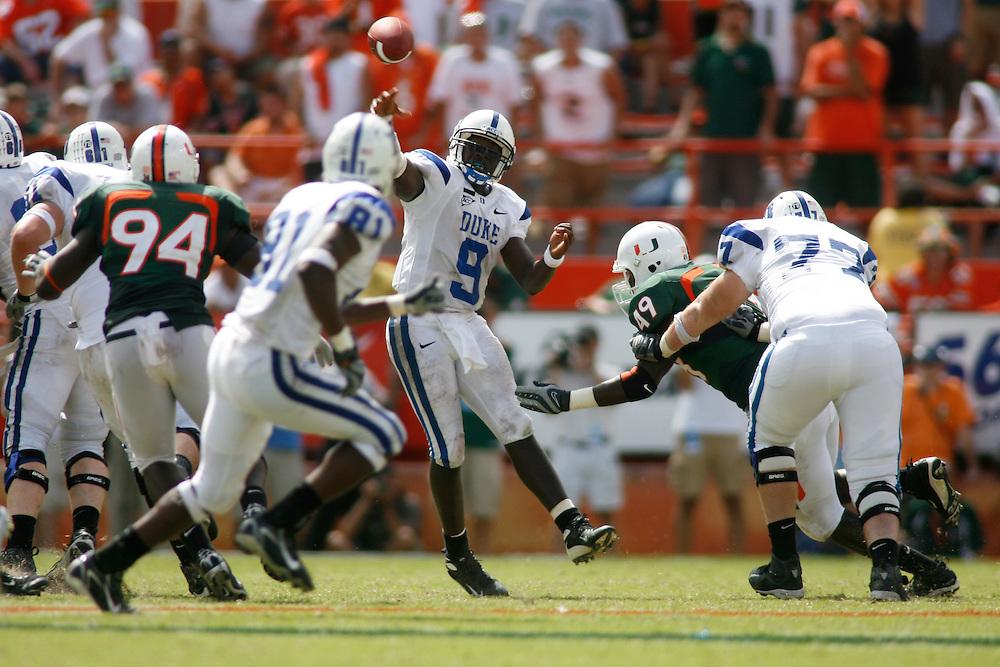 Duke Blue Devils @ Miami Hurricanes, September 29, 2007 at the Miami Orange Bowl Stadium in Miami, Florida.
