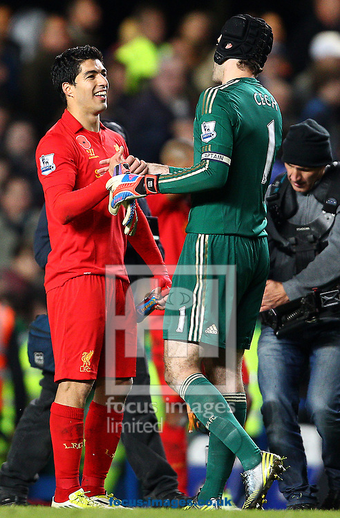 Picture by Paul Terry/Focus Images Ltd +44 7545 642257.11/11/2012.Petr Cech ( R ) of Chelsea and Luis Suarez of Liverpool shake hands after the Barclays Premier League match at Stamford Bridge, London.