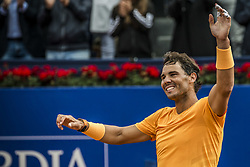 April 29, 2018 - Barcelona, Catalonia, Spain - RAFAEL NADAL (ESP) celebrates his 11th title at the 'Barcelona Open Banc Sabadell' after winning the final against Stefanos Tsitsipas (GRE). Nadal won  6:2, 6:1 (Credit Image: © Matthias Oesterle via ZUMA Wire)