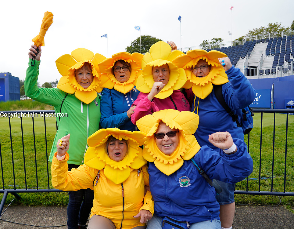 Auchterarder, Scotland, UK. 12 September 2019. Final practice day for the 2019 Solheim Cup before the official opening saw many patriotic fans arrive on the course at Gleneagles. Pictured; Welsh Team Europe women fans from Merthyr Tydfil in daffodil fancy dress. Iain Masterton/Alamy Live News