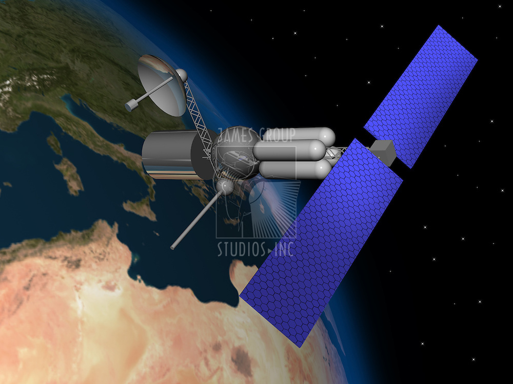 Satelite orbiting earth