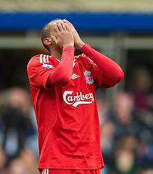 BIRMINGHAM, ENGLAND - Sunday, April 4, 2010: Liverpool's David Ngog looks dejected after missing a chance to score the winning goal against Birmingham City during the Premiership match at St Andrews. (Photo by David Rawcliffe/Propaganda)
