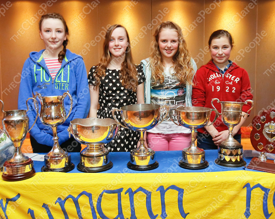 31/01/2014<br /> Kate Hehir, Michelle Mescall, Caitlin McInerney and Aoibhin Ryan pictured at a Banner Ladies Football Medal Presentation Night which took place at the West County Hotel, Ennis.<br /> Picture: Don Moloney / Press 22