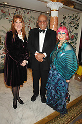Left to right,  SARAH, DUCHESS OF YORK, SIR MAGDI YACOUB and ZANDRA RHODES at the Chain of Hope Ball held at The Dorchester, Park Lane, London on 4th February 2008.<br />
