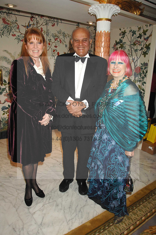 Left to right,  SARAH, DUCHESS OF YORK, SIR MAGDI YACOUB and ZANDRA RHODES at the Chain of Hope Ball held at The Dorchester, Park Lane, London on 4th February 2008.<br /><br />NON EXCLUSIVE - WORLD RIGHTS