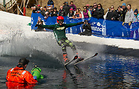 Connor Silloway experienced a little drag as he attempted to cross the pond during Gunstock's B.Y.O.D.C. event on Sunday afternoon.  (Karen Bobotas/for the Laconia Daily Sun)