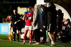 Poppy Pattinson of Bristol City talks with Tanya Oxtoby manager of Bristol City Women - Mandatory by-line: Ryan Hiscott/JMP - 19/01/2020 - FOOTBALL - Stoke Gifford Stadium - Bristol, England - Bristol City Women v Liverpool Women - Barclays FA Women's Super League