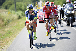 July 10, 2018 - Sarzeau, FRANCE - Belgian Guillaume Van Keirsbulck of Wanty-Groupe Gobert and Belgian Dimitri Claeys of Cofidis pictured in action during the fourth stage of the 105th edition of the Tour de France cycling race, from La Baule to Sarzeau (195km), in France, Tuesday 10 July 2018. This year's Tour de France takes place from July 7th to July 29th. BELGA PHOTO YORICK JANSENS - FRANCE OUT (Credit Image: © Yorick Jansens/Belga via ZUMA Press)