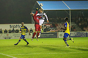Forest Green Rovers Christian Doidge(9) challenges Solihill Moors goalkeeper Daniel Lewis(1) during the Vanarama National League match between Solihull Moors and Forest Green Rovers at the Automated Technology Group Stadium, Solihull, United Kingdom on 25 October 2016. Photo by Shane Healey.