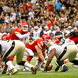 September 23, 2012; New Orleans, LA, USA; Kansas City Chiefs quarterback Matt Cassel (7) at the line against the New Orleans Saints during the fourth quarter of a game at the Mercedes-Benz Superdome. The Chiefs defeated the Saints 27-24 in overtime. Mandatory Credit: Derick E. Hingle-US PRESSWIRE