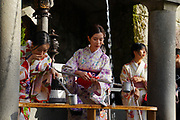 Kiyomizu-dera, temple, Kyoto, Japan. Pilgrims purify themselves with holy water