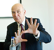 """Rt Hon Vince Cable MP<br /> speaking at a Resolution Foundation meeting entitled """"Building a shared recovery - lessons from the downturn"""" in London, Great Britain <br /> 14th May 2014 <br /> <br /> <br /> Vince Cable is a Liberal Democrat politician who is the Secretary of State for Business, Innovation and Skills in the coalition government. <br /> <br /> Gavin Kelly is CEO at Resolution Foundation<br /> <br /> Alison Wolf CBE is a British economist, and the Sir Roy Griffiths Professor of Public Sector Management at King's College London.<br /> <br /> Paul Johnson <br /> <br /> Patrick Wintour is the chief political editor at The Guardian"""