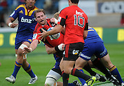 Crusaders Kieran Read (C) looks to offload the ball to Dan Carter during the Investec Super Rugby - Highlanders v Crusaders, 19 March 2011, Carisbrook Stadium, Dunedin, New Zealand.Photo: New Zealand. Photo: Richard Hood/www.photosport.co.nz