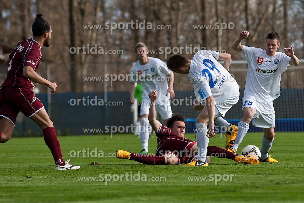 Tilen Klemencic of NK Triglav and Andraz Zurej of NK Celje during football match between NK Triglav and NK Celje in 28th Round of Slovenian First League PrvaLiga NZS 2012/13 on April 14, 2013 in Sports park Kranj, Slovenia. Triglav defeated NK Celje 1-0. Kranj, Slovenia. (Photo by Grega Valancic / Sportida)