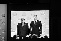 "ROME, ITALY - 24 JANUARY 2013: Silvio Berlusconi, former PM and leader of The People of Freedom party, and Angelino Alfano, Secretary of the party, present the PdL candidates for the upcoming general elections in Rome, on January 25, 2013.<br /> <br /> A general election to determine the 630 members of the Chamber of Deputies and the 315 elective members of the Senate, the two houses of the Italian parliament, will take place on 24–25 February 2013. The main candidates running for Prime Minister are Pierluigi Bersani (leader of the centre-left coalition ""Italy. Common Good""), former PM Mario Monti (leader of the centrist coalition ""With Monti for Italy"") and former PM Silvio Berlusconi (leader of the centre-right coalition).<br /> <br /> ###<br /> <br /> ROMA, ITALIA - 24 GENNAIO 2013: Silvio Berlusconi, ex-premier e leader del Popolo della Libertà, e Angelino Alfano, segretario del partito, presentano i candidati PdL alle prossime elezioni politiche, a Roma il 24 gennaio 2013.<br /> <br /> Le elezioni politiche italiane del 2013 per il rinnovo dei due rami del Parlamento italiano – la Camera dei deputati e il Senato della Repubblica – si terranno domenica 24 e lunedì 25 febbraio 2013 a seguito dello scioglimento anticipato delle Camere avvenuto il 22 dicembre 2012, quattro mesi prima della conclusione naturale della XVI Legislatura. I principali candidate per la Presidenza del Consiglio sono Pierluigi Bersani (leader della coalizione di centro-sinistra ""Italia. Bene Comune""), il premier uscente Mario Monti (leader della coalizione di centro ""Con Monti per l'Italia"") e l'ex-premier Silvio Berlusconi (leader della coalizione di centro-destra).ROME, ITALY - 24 JANUARY 2013: Silvio Berlusconi, former PM and leader of The People of Freedom party, and Angelino Alfano, Secretary of the party, present the PdL candidates for the upcoming general elections during the PdL convention in Rome, on January 25, 2013.<br /> <br /> A general election to determine the 630 members of the Chamber of Deputies and the 315 elective members"