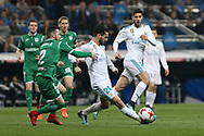 MADRID, SPAIN. January 24, 2018 - Isco with the ball against Tito. Real Madrid pushed right to the end but were ultimately unable to get the better of Leganés, who scored twice, once in either half, to knock the Whites out of the Copa del Rey. . Photos by Antonio Pozo | PHOTO MEDIA EXPRESS