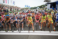 The riders line up for the 121.5 km road race of the UCI Women's World Tour's 2016 Grand Prix Plouay women's road cycling race on August 27, 2016 in Plouay, France. (Photo by Balint Hamvas/Velofocus)