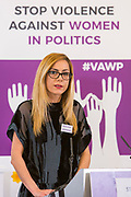 Adelina Berisha (Researcher & Advocacy Coordinator, Kosovo Women's Network) Session 6: THE CIVIL SOCIETY PERSPECTIVE ON VAW IN POLITICS 'Violence Against Women in Politics' Conference, organised by all the UK political parties in partnership with the Westminster Foundation for Democracy, 19th and 20th of March 2018, central London, UK.  (Please credit any image use with: © Andy Aitchison / WFD
