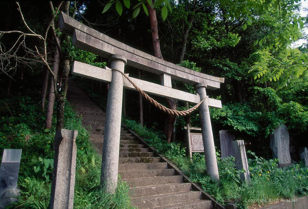 Torii (gateway) at entrance to Taga-jinja (shrine), Tono, Iwate Prefecture, Japan