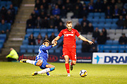 Leyton Orient's James Dayton and Gillingham's Sean Clare during the The FA Cup match between Gillingham and Leyton Orient at the MEMS Priestfield Stadium, Gillingham, England on 4 November 2017. Photo by John Marsh.