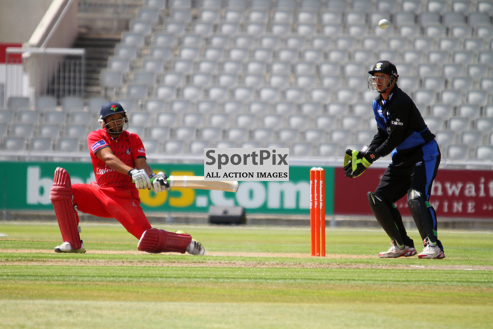 Ashwell Prince plays a reverse sweep, Lancashire Lightning vs Durham Dynamos, Emirates Old Trafford, Friends Life t20, 14.07.2013 (c) Thomas Miller | SportPix.org.uk
