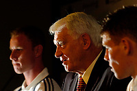 Photo. Jed Wee.<br /> Newcastle United Press Conference, 30/07/2004.<br /> Newcastle manager Sir Bobby Robson (C) unveils new signings Nicky Butt (L) and James Milner.