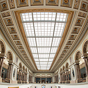 Ceiling of the main hall at the Royal Museums of Fine Arts in Belgium (in French, Musées royaux des Beaux-Arts de Belgique), one of the most famous museums in Belgium. The complex consists of several museums, including Ancient Art Museum (XV - XVII century), the Modern Art Museum (XIX ­ XX century), the Wiertz Museum, the Meunier Museum and the Museé Magritte Museum.