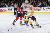 KELOWNA, CANADA - DECEMBER 3: Cole Reinhardt #23 of the Brandon Wheat Kings skates with the puck against the Kelowna Rockets  on December 3, 2016 at Prospera Place in Kelowna, British Columbia, Canada.  (Photo by Marissa Baecker/Shoot the Breeze)  *** Local Caption ***