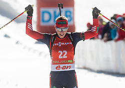 ZAITSEVA Olga of Russia celebrates after placed third during Women 12.5 km Mass Start competition of the e.on IBU Biathlon World Cup on Sunday, March 9, 2014 in Pokljuka, Slovenia. Photo by Vid Ponikvar / Sportida