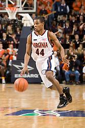 Virginia guard Sean Singletary (44) in action against UNC.  The Virginia Cavaliers men's basketball team fell to the #3 ranked North Carolina Tar Heels 75-74 at the John Paul Jones Arena in Charlottesville, VA on February 12, 2008.