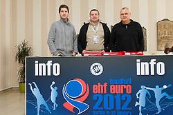 Roman Pungartnik, Uros Serbec and Matjaz Tominec during 3rd day of 10th EHF European Handball Championship Serbia 2012, on January 17, 2012 in Hotel Srbija, Vrsac, Serbia.  (Photo By Vid Ponikvar / Sportida.com)