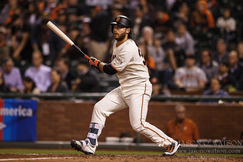 SAN FRANCISCO, CA - APRIL 18: Brandon Crawford #35 of the San Francisco Giants at bat against the Arizona Diamondbacks during the seventh inning at AT&T Park on April 18, 2016 in San Francisco, California. The Arizona Diamondbacks defeated the San Francisco Giants 9-7 in 11 innings.  (Photo by Jason O. Watson/Getty Images) *** Local Caption *** Brandon Crawford