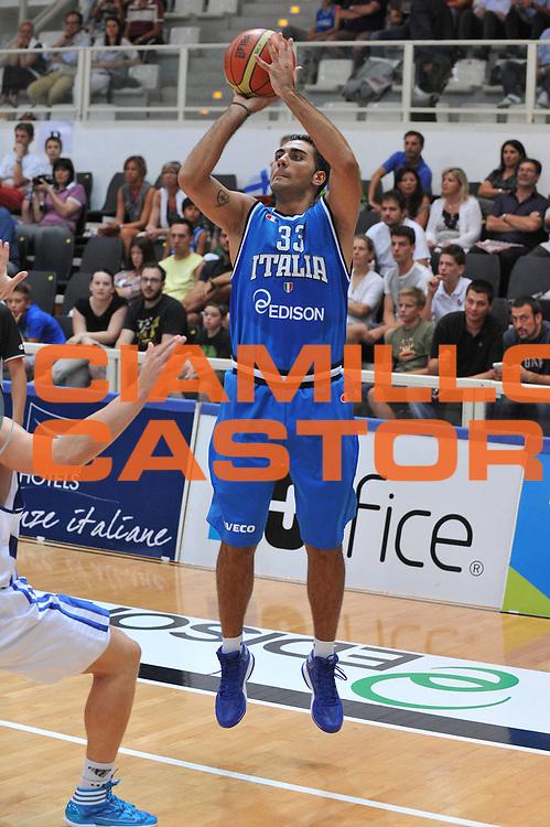 DESCRIZIONE : Trento Primo Trentino Basket Cup Finlandia Italia<br /> GIOCATORE : pietro aradori<br /> CATEGORIA : tiro three points<br /> SQUADRA : Finlandia Nazionale Italia Maschile <br /> EVENTO :  Trento Primo Trentino Basket Cup<br /> GARA : Finlandia Italia<br /> DATA : 25/07/2012<br /> SPORT : Pallacanestro<br /> AUTORE : Agenzia Ciamillo-Castoria/M.Gregolin<br /> Galleria : FIP Nazionali 2012<br /> Fotonotizia : Trento Primo Trentino Basket Cup Finlandia Finlandia<br /> Predefinita :