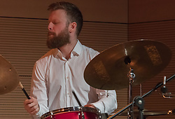 March 28, 2019 - Roma, Italy, Italy - Timo Lassy is one of the most important artists of the Finnish jazz scene. The composer and saxophonist was recently included in the ''Rising Star'' category by the prestigious American magazine ''Downbea''..On 28/3/2019 he performed at the Casa del Jazz in Rome with Georgios Kontrafouris on piano, Ville Herrala on bass, Jaska Lukkarinen on drums, Abdissa Assefa on percussioni. Jaska Lukkarinen (Credit Image: © Leo Claudio De Petris/Pacific Press via ZUMA Wire)