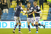 GOAL 2-2 Millwall forward Aiden O'Brien (22) scores and celebrates during the EFL Sky Bet Championship match between Millwall and Nottingham Forest at The Den, London, England on 6 December 2019.