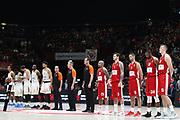 Squadre a metà campo e inno ufficiale EuroLeague, Ax Armani Exchange Olimpia Milano vs Khimki Moscow Region - EuroLeague 2017/2018, Milano Mediolanum Forum 7 dicembre 2017 - foto Bertani/Ciamillo-Castoria