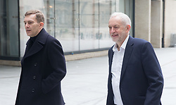 April 15, 2018 - London, London, United Kingdom - Leader of the Labour Party, Jeremy Corbyn, arrives for The Andrew Marr Show with Seamus Milne, Director of Strategy and Communications.Andrew Marr Show, London. BBC, London. (Credit Image: © Mark Thomas/i-Images via ZUMA Press)