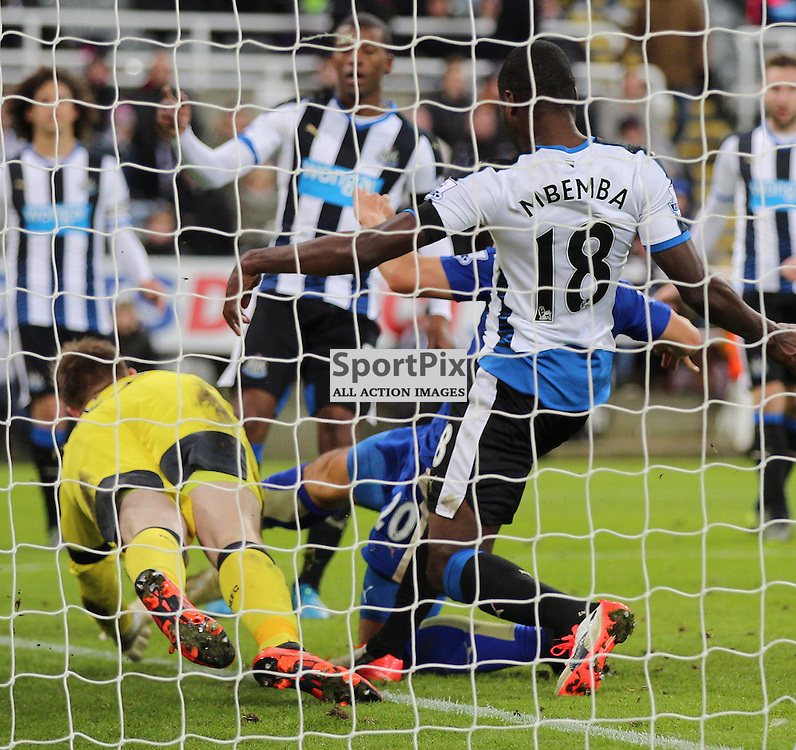 Newcastle United v Leicester City English Premiership 21 November 2015; Shinji Okazaki (Leicester City, 20) bundles in the third during the Newcastle v Leicester City English Premiership match played at St. James' Park, Newcastle; <br /> <br /> &copy; Chris McCluskie   SportPix.org.uk