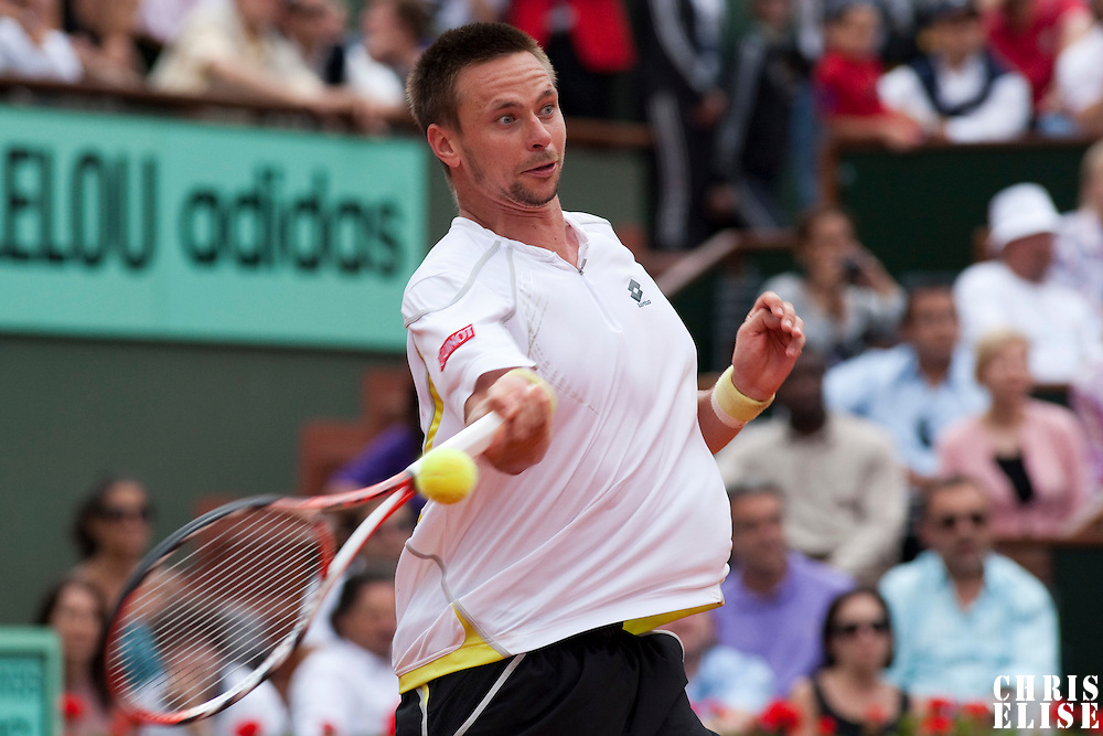 31 May 2009: Robin Soderling of Sweden hits a forehand during the men's Singles fourth round match on day eight of the French Open at Roland Garros in Paris, France.