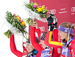 13.03.2010, Goudyberg Herren, Garmisch Partenkirchen, GER, FIS Worldcup Alpin Ski, Garmisch, Men Slalom, im Bild Podium Slalom Damen, v.l. Zettel Kathrin, ( AUT, #6 ), Ski Atomic, Schild Marlies, ( AUT, #7 ), Ski Atomic,Riesch Maria, ( GER, #1 ), Ski Head, EXPA Pictures © 2010, PhotoCredit: EXPA/ J. Groder / SPORTIDA PHOTO AGENCY