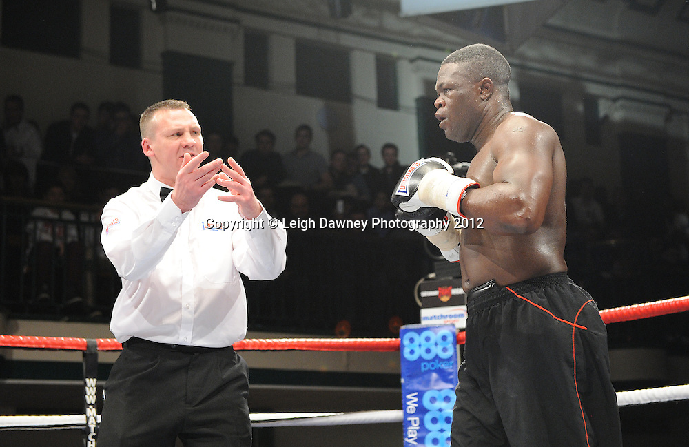 Wadi Camacho defeats  Moses Matovu (pictured) in a 4x3min Cruiserweight contest at York Hall, Bethnal Green, London on 28th January 2012.Matchroom Sport. © Leigh Dawney Photography 2012.