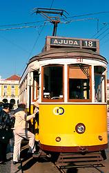 PORTUGAL LISBON MAY99 - A tram on the Prada de Commercio. ....jre/Photo by Jiri Rezac....© Jiri Rezac 1999....Tel:   +44 (0) 7050 110 417..Email: info@jirirezac.com..Web:   www.jirirezac.com