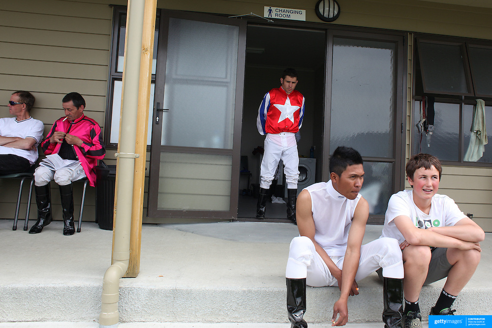Jockey's relax between races during a day at the Races at the Cromwell Race meeting, Cromwell, Central Otago, New Zealand. 27th November 2011. Photo Tim Clayton