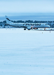 THEMENBILD - ein Finnair Embraer 190 Flugzeug mit der Kennung OH-LKG / OHLKG auf der Start- und Landepiste, aufgenommen am 29. November 2016 am Flughafen Kuusamo, Finnland // the Finnair Embraer 190 aircraft with the registration number OH-LKG / OHLKG on the Runway at the Kuusamo Airport, Finland on 2016/11/29. EXPA Pictures © 2016, PhotoCredit: EXPA/ JFK