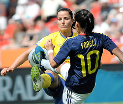 28.06.2011, BayArena, Leverkusen, GER, FIFA Women Worldcup 2011, Gruppe C, Kolumbien (COL) vs. Schweden (SWE), im Bild Jessica LANDSTROM ( #8 SWE ) gegen Jessica LANDSTROM ( #8 SWE )..// during the FIFA Women¥s Worldcup 2011, Pool C, Colombia vs. Sweden on 2011/06/28, BayArena, Leverkusen, Germany.       ****** out of GER / CRO  / BEL ******