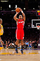 25 February 2011: Guard Randy Foye of the Los Angeles Clippers shoots a jumpshot against the Los Angeles Lakers during the first half of the Lakers 108-95 victory over the Clippers at the STAPLES Center in Los Angeles, CA.