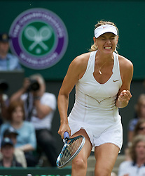 LONDON, ENGLAND - Saturday, July 2, 2011: Maria Sharapova (RUS) celebrates winning a point but she was to ultimately lose the Ladies' Singles Final on day twelve of the Wimbledon Lawn Tennis Championships at the All England Lawn Tennis and Croquet Club. (Pic by David Rawcliffe/Propaganda)
